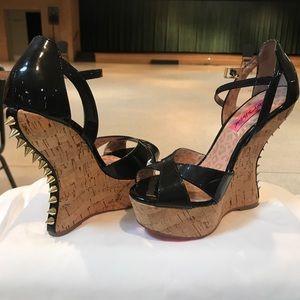 Black patent Betsy Johnson Studded heel sandal